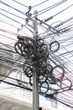 Tangle, chaos, messy of electric cable Royalty Free Stock Photography
