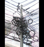 Tangle,chaos, messy of electric cable on post Royalty Free Stock Images