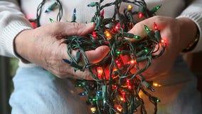 Tangle of Christmas lights stock footage