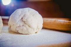 Tangle of dough with flour, bake bread. A stock image