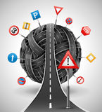 Tangle of roads with signs. Tangle ball of roads with signs  illustration Stock Images