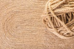 Texture of handmade carpet. Tangle of rope close-up on texture of handmade carpet Stock Photography