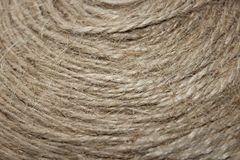 A tangle of rope closeup. As background. Rough texture, burlap, natural color Royalty Free Stock Photos