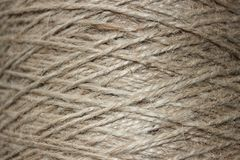 A tangle of rope closeup. As background. Rough texture, burlap, natural color Royalty Free Stock Photography