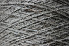 A tangle of rope closeup. As background. Rough texture, burlap, natural color Royalty Free Stock Image