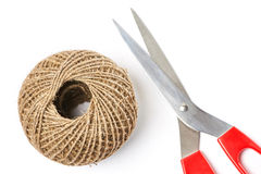 Tangle of rope and scissors Stock Images