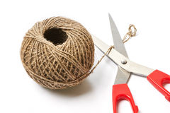 Tangle of rope and scissors Royalty Free Stock Images