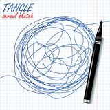 Tangle Scrawl Sketch Vector. Drawing Circle. Abstract Scribble Shape. Abstract Metaphor. Illustration. Tangle Scrawl Sketch Vector. Drawing Circle. Tangled Stock Photography