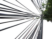Tangle wire on light pole. Many tangle wire on light pole in Thailand Stock Photos