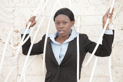 Tangled businesswoman Stock Photos