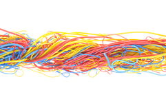 Tangled cables in telecommunication networks Royalty Free Stock Photo