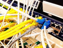 Tangled colored network cables in a data center Royalty Free Stock Photo