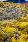 Fisherman fishing nets and ropes. Tangled colorful fisherman fishing nets and ropes on the shore of in Zante Island, Greece stock photo