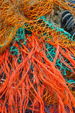 Red, Turquoise, yellow tangled comercial fishing n Royalty Free Stock Photos