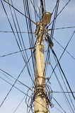 Tangled electric wires Stock Images