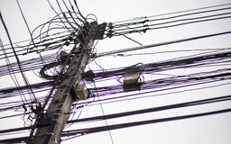 Tangled Electrical Wire on Electricity Post,. Thailand Royalty Free Stock Photo