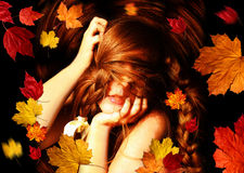 Tangled in fallen leaves Stock Image