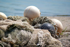 Tangled fishing nets Stock Images