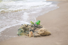 Tangled fishing nets on the beach Royalty Free Stock Photos