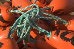 Tangled Floats. Photo of a collection of tangled fishing floats Royalty Free Stock Photo