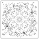 Tangled flowers and butterflies in the circle stock illustration