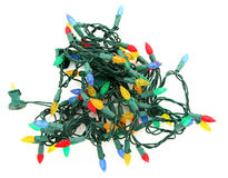 Tangled LED Christmas Lights. Over White Background stock photo