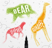 Tangled line bear color Stock Photography