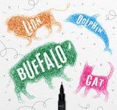 Tangled line buffalo color Stock Image