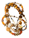Tangled necklace from amber, tigers eye beads Stock Photos