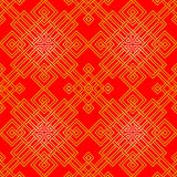 Tangled Oriental Pattern in red and gold, seamless Stock Photo