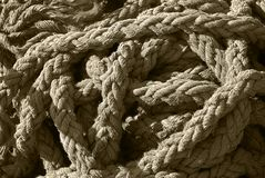 Tangled Pile of Thick, Frayed Rope Royalty Free Stock Images