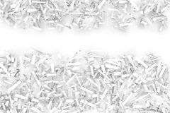 Tangled Pile of White Geometric Confetti Shapes on a Bright Back Stock Images