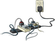Tangled Power Cords Royalty Free Stock Images