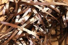 Tangled ribbon of audio cassette tape Stock Photo