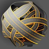 Tangled road skein. Traffic jam. Illustration of Tangled road skein. Traffic jam. On dark background stock illustration