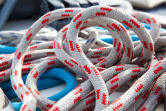 Tangled rope closeup background. Royalty Free Stock Images