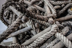 Tangled rope ladder. Close up shot of an old and worn rope ladder Royalty Free Stock Photo