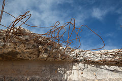 Tangled steel reinforcing in broken concrete Stock Photography