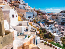 Tangled streets of the Oia village Stock Photos