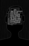 Tangled thoughts inside a head maze Royalty Free Stock Photos