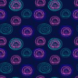 Tangled thread circles seamless abstract pattern on a blue background Stock Photo