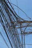 Tangled up electric wires stock images