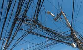Tangled up electric wires royalty free stock image