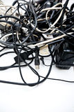 Tangled up wires, connections and cables. Royalty Free Stock Image