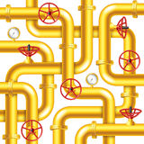 Tangled yellow metal pipes background vector Royalty Free Stock Images