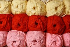 Tangles of multi-colored yarn stock photography