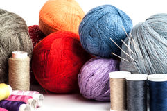 Tangles multicolored yarn and thread Stock Photo