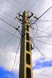 Tangles telephone wires. Tangles telephone wires on a pole Royalty Free Stock Photo