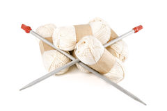 Tangles yarn for knitting with spokes. Royalty Free Stock Images