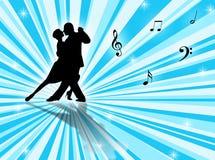 Tango. Couple dancing a tango on a star-burst background Stock Photo